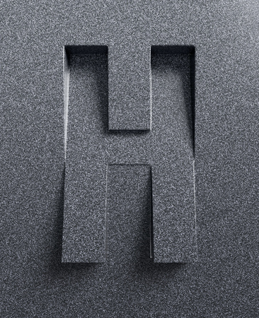 Letter H slanted 3d font engraved and extruded