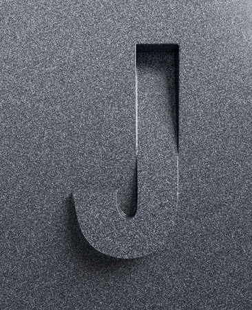 Letter J slanted 3d font engraved and extruded Stock Photo