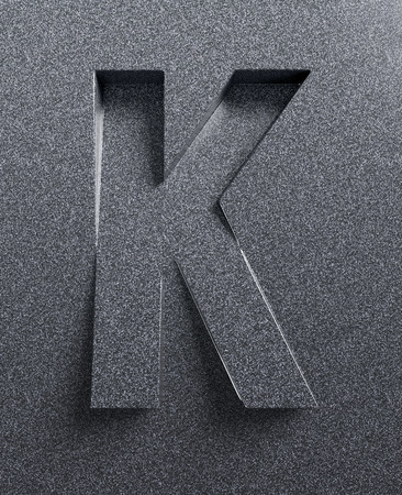 tilt: Letter K slanted 3d font engraved and extruded Stock Photo