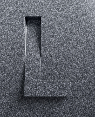 Letter L slanted 3d font engraved and extruded