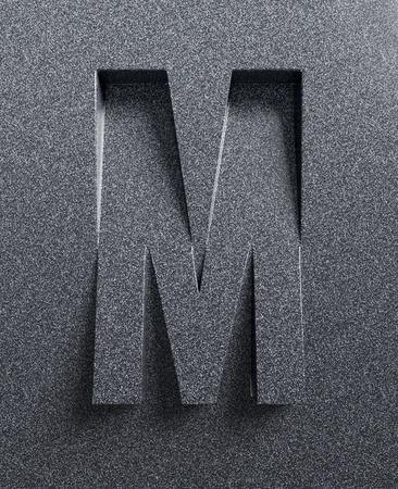 文字 M 傾斜 3 d フォントが刻まれ、押出材