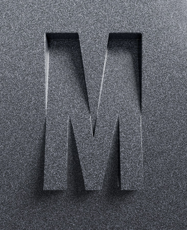 Letter M slanted 3d font engraved and extruded