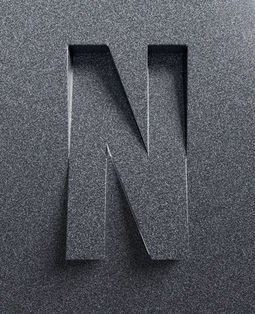 slanted: Letter N slanted 3d font engraved and extruded Stock Photo