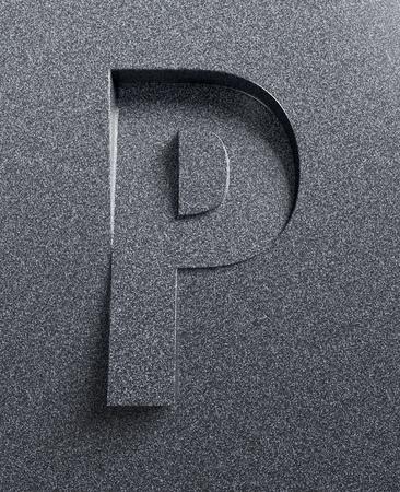 bevel: Letter P slanted 3d font engraved and extruded