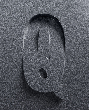 slanted: Letter Q slanted 3d font engraved and extruded Stock Photo