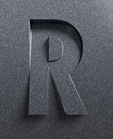 slanted: Letter R slanted 3d font engraved and extruded Stock Photo