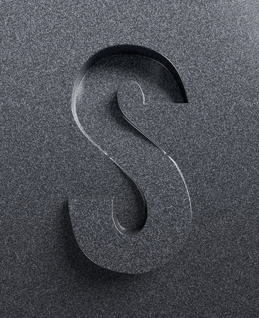 slant: Letter S slanted 3d font engraved and extruded