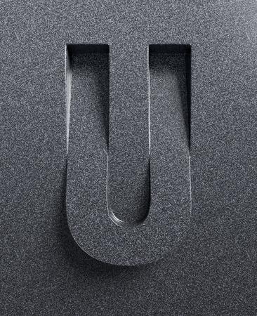 angled: Letter U slanted 3d font engraved and extruded