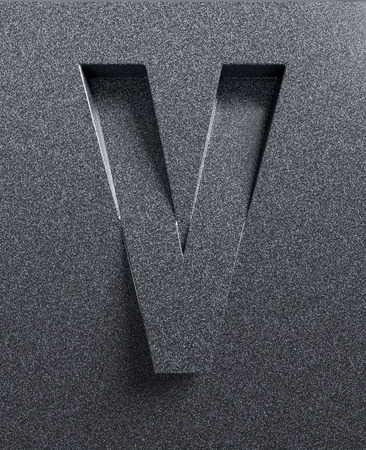 slant: Letter V slanted 3d font engraved and extruded