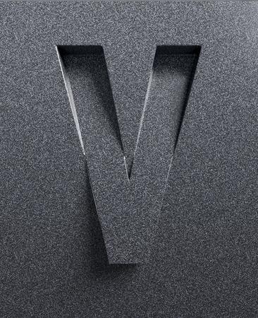 slopes: Letter V slanted 3d font engraved and extruded