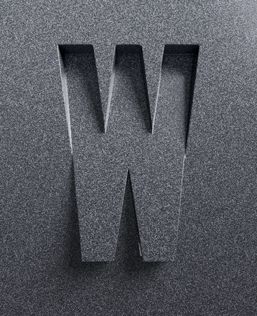 imprinted: Letter W slanted 3d font engraved and extruded Stock Photo
