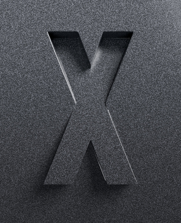 letter x: Letter X slanted 3d font engraved and extruded Stock Photo