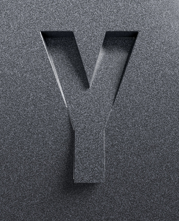 slanted: Letter Y slanted 3d font engraved and extruded Stock Photo