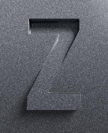 fonts 3d: Letter Z slanted 3d font engraved and extruded