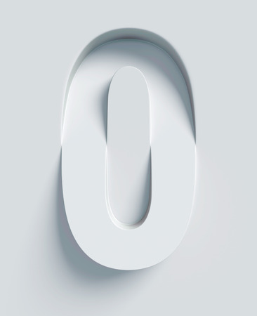 conceptual: Number 0 slanted 3d font engraved and extruded