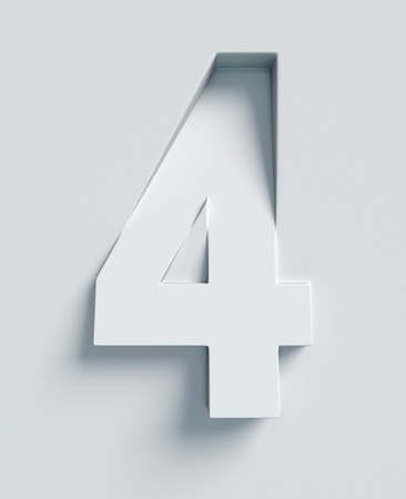 slant: Number 4 slanted 3d font engraved and extruded Stock Photo