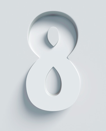 three angled: Number 8 slanted 3d font engraved and extruded