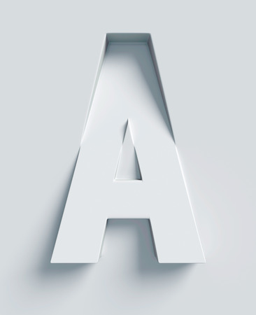 three angled: Letter A slanted 3d font engraved and extruded