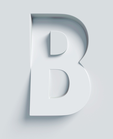 slant: Letter B slanted 3d font engraved and extruded