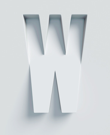 Letter W slanted 3d font engraved and extruded Stock Photo
