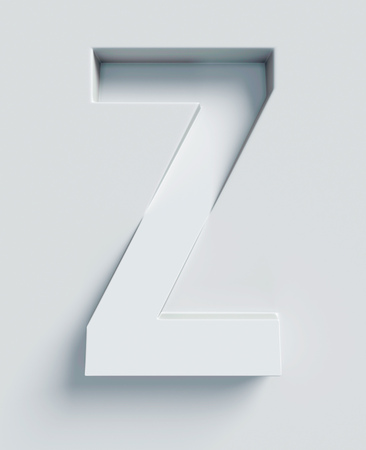 slant: Letter Z slanted 3d font engraved and extruded