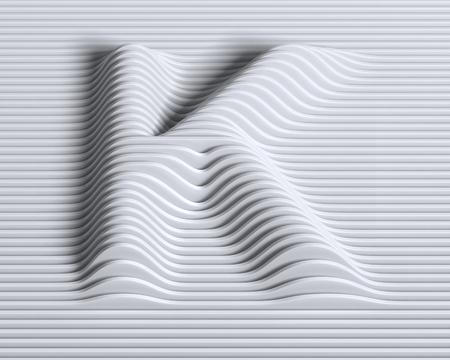 contours: linear 3d font letter K