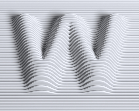 numbers abstract: linear 3d font letter W Stock Photo