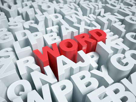 word surrounded by randomized letters Stock Photo