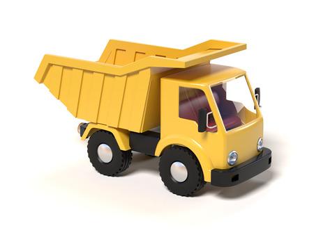 hauler: Yellow toy dump truck 3d rendering Stock Photo