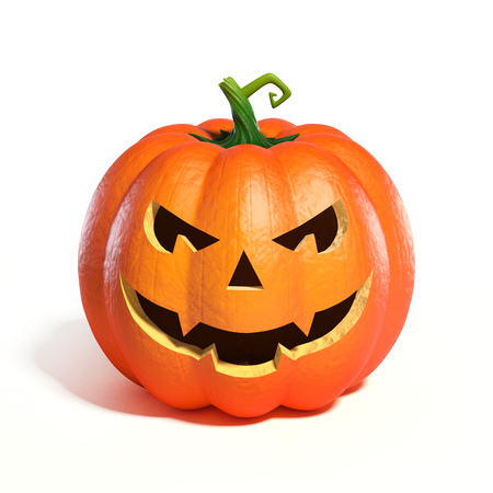 carved pumpkin: Halloween Pumpkin Jack O Lantern 3d rendering Stock Photo