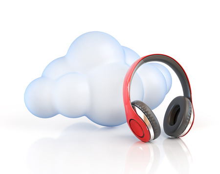 electronic background: Cloud computing multimedia concept - cloud and headphones Stock Photo