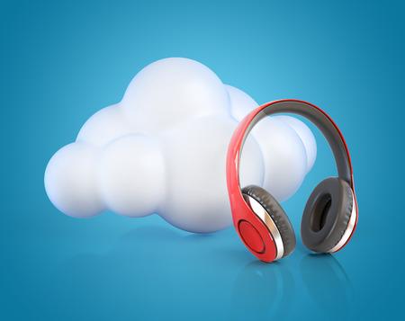 Cloud computing multimedia concept - cloud and headphones Stock Photo