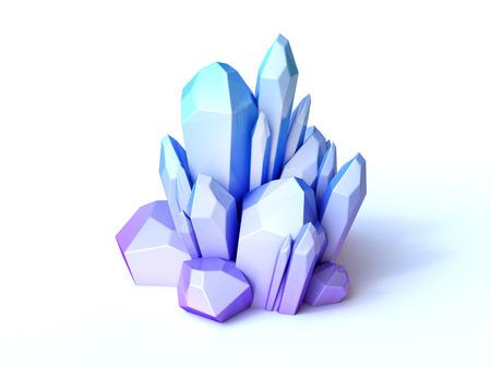 Blue crystal 3d rendering isolated illustration 版權商用圖片