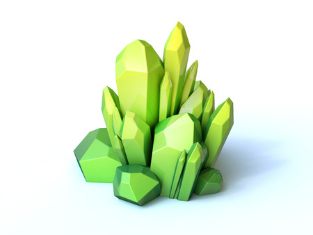 Green crystal 3d rendering isolated illustration 版權商用圖片