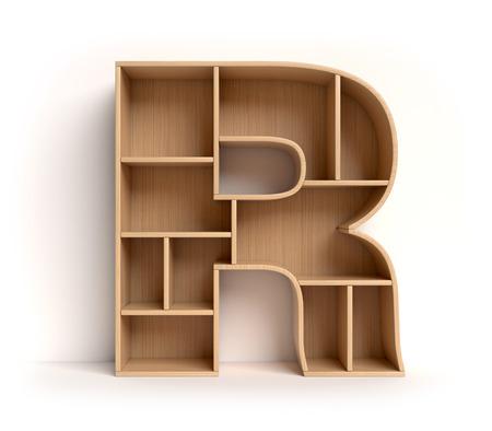 Letter R shaped shelves 3d rendering