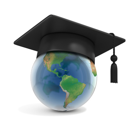 Graduation cap on top of the globe Stock fotó