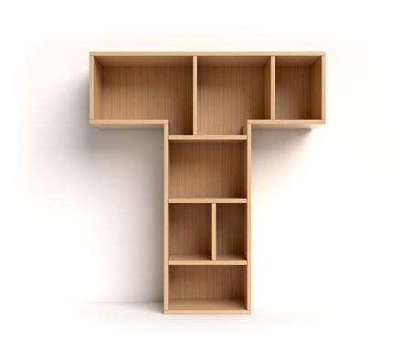 Letter T shaped shelves 3d rendering