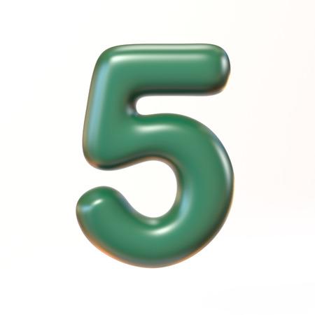 Bubbly 3d font number 5