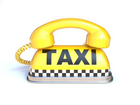 Taxi sign with telephone handset on a white background 3d rendering