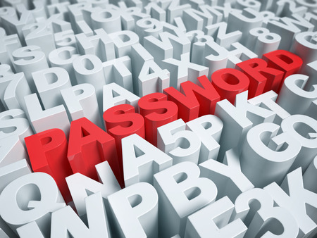 type writer: Password abstract on a white background 3d rendering