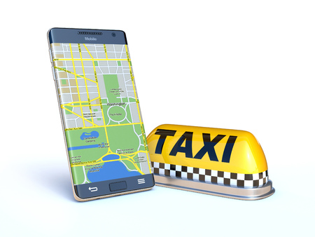 Mobile phone with taxi sign, taxi app