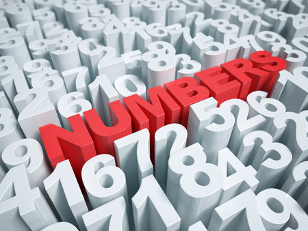 Numbers abstract on a white background 3d rendering