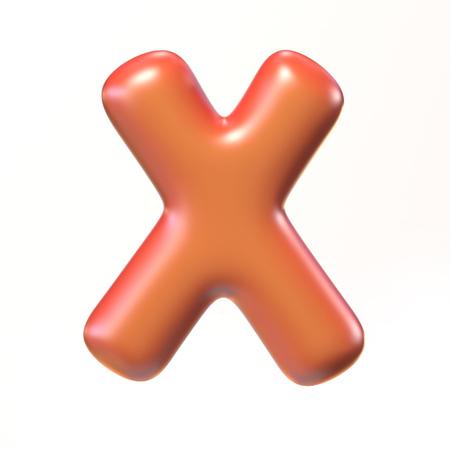 Bubbly 3d font letter X