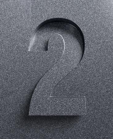 Number 2 slanted 3d font