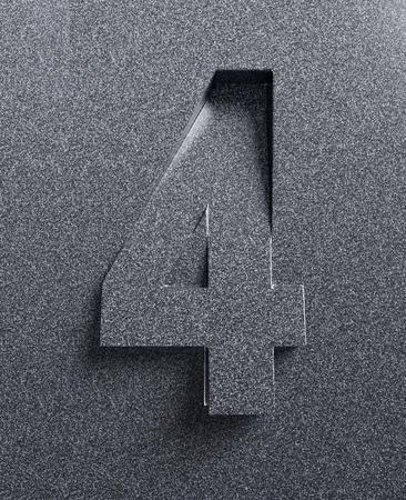 Number 4 slanted 3d font engraved