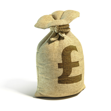 Money sack full of pounds with pound sign 3d rendering