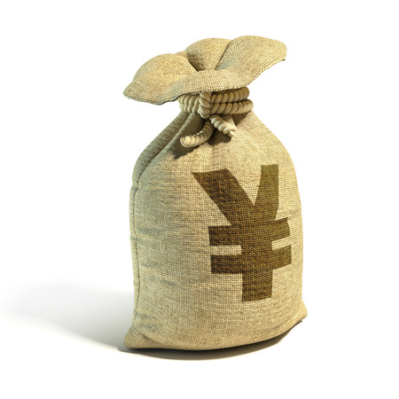 pouch: Money sack full of pounds with yens sign 3d rendering
