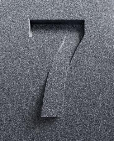 Number 7 slanted 3d font engraved