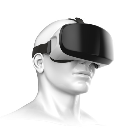 Virtual reality headset  on a white background 3d rendering