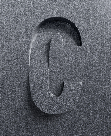 Letter C slanted 3d font engraved